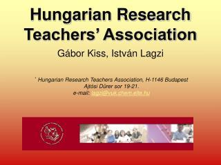 Hungarian Research Teachers' Association