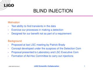 BLIND INJECTION