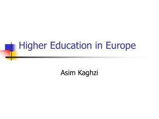 Higher Education in Europe