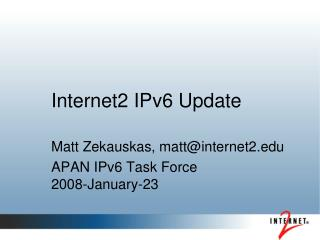 Internet2 IPv6 Update