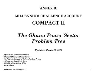 The Ghana Power Sector Problem Tree  Updated: March 22, 2012