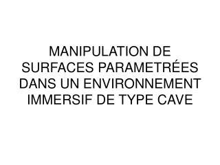 MANIPULATION DE SURFACES PARAMETRÉES DANS UN ENVIRONNEMENT IMMERSIF DE TYPE CAVE