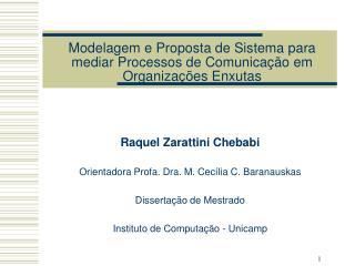 Modelagem e Proposta de Sistema para mediar Processos de Comunica��o em Organiza��es Enxutas