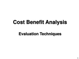 Cost Benefit Analysis Evaluation Techniques