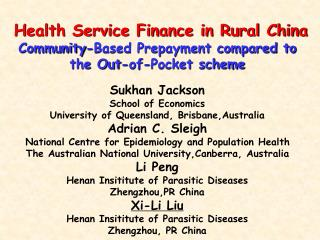 Health Service Finance in Rural China