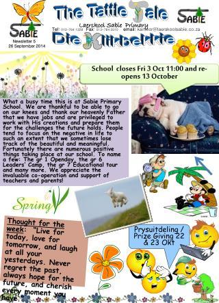 Tel :  013-764 1328    Fax :  013-764 3510      email:  kantoor@laerskoolsabie.co.za