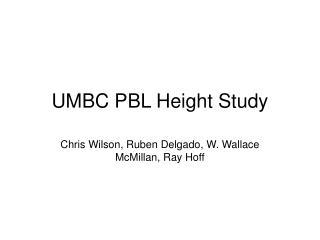 UMBC PBL Height Study