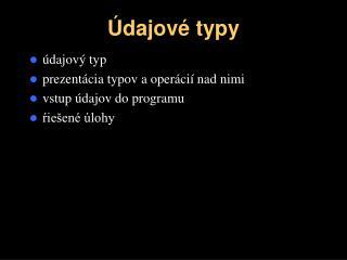 Údajové typy