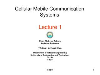 Cellular Mobile Communication Systems Lecture 1