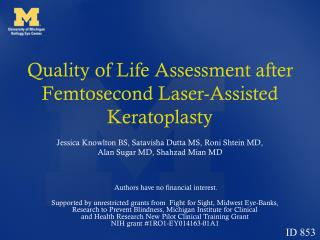 Quality of Life Assessment after Femtosecond Laser-Assisted Keratoplasty