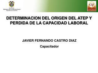 DETERMINACION DEL ORIGEN DEL ATEP Y PERDIDA DE LA CAPACIDAD LABORAL