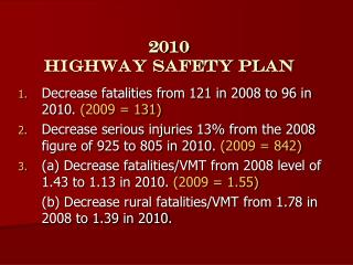 2010  Highway Safety Plan