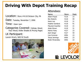 Driving With Depot Training Recap