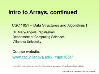 CSC 1051 – Data Structures and Algorithms I