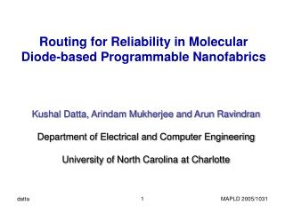 Routing for Reliability in Molecular  Diode-based Programmable Nanofabrics