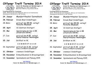 Offener Treff Termine 2014 Verein für Menschen mit Behinderungen e.V .