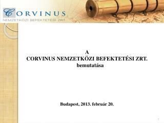 A  CORVINUS NEMZETKÖZI BEFEKTETÉSI ZRT.  bemutatása  Budapest, 2013. február 20.