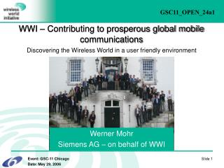 Werner Mohr Siemens AG – on behalf of WWI