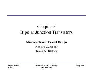 Chapter 5 Bipolar Junction Transistors