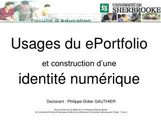 Usages du ePortfolio  et construction d�une identit� num�rique