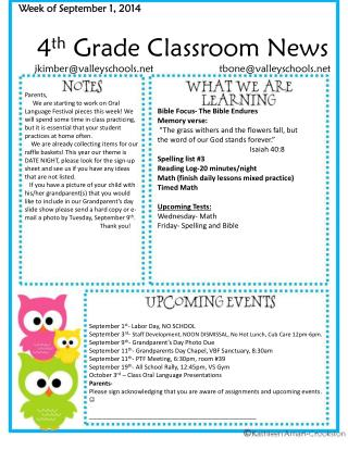 4 th  Grade Classroom News jkimber@valleyschools                       tbone@valleyschools