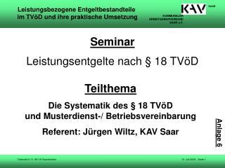 Seminar Leistungsentgelte nach § 18 TVöD