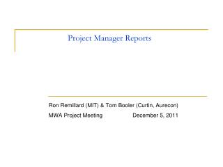 Project Manager Reports