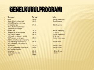 Gundem                                Zaman   Isim Acilis14:00     Hatice Elmacioglu