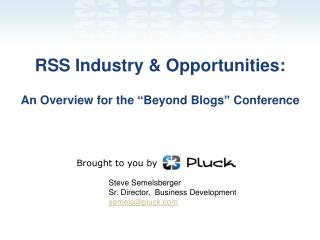 "RSS Industry & Opportunities: An Overview for the ""Beyond Blogs"" Conference"