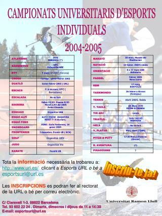 CAMPIONATS UNIVERSITARIS D'ESPORTS  INDIVIDUALS   2004-2005