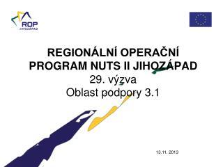 REGIONÁLNÍ OPERAČNÍ PROGRAM NUTS II JIHOZÁPAD 29. výzva Oblast podpory 3.1