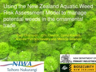 Using the New Zealand Aquatic Weed Risk Assessment Model to manage