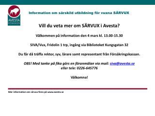 Information om särskild utbildning för vuxna SÄRVUX