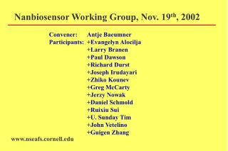 Nanbiosensor Working Group, Nov. 19th, 2002