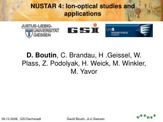 NUSTAR 4: Ion-optical studies and applications