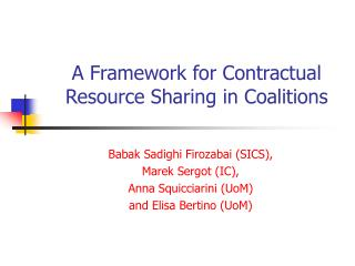 A Framework for Contractual Resource Sharing in Coalitions