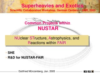 Superheavies and Exotics Common Projects within  NUSTAR