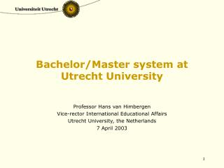 Bachelor/Master system at  Utrecht University