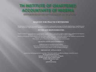 TH INSTITUTE OF CHARTERED ACCOUNTANTS OF NIGERIA       Established by act of parliament no. 15 of 1965