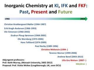 Inorganic  Chemistry at  KI ,  IFK  and  FKF :  Past ,  Present  and  Future