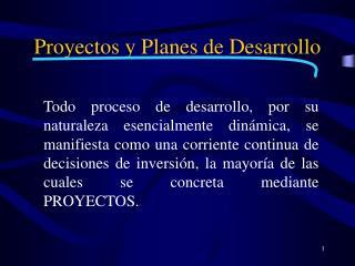 Proyectos y Planes de Desarrollo