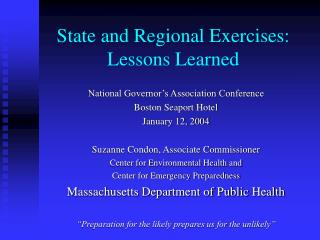 State and Regional Exercises: Lessons Learned