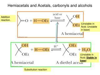 Hemiacetals and Acetals, carbonyls and alcohols