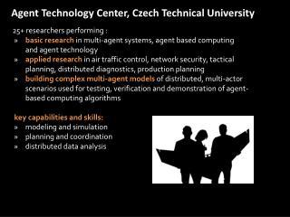 Agent Technology Center, Czech Technical University