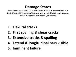 Flexural cracks First spalling & shear cracks  Extensive cracks & spalling