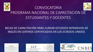 CONVOCATORIA  Programa nacional de capacitación de estudiantes y docentes