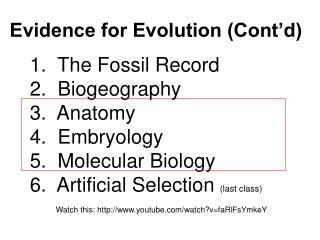 Evidence for Evolution (Cont'd)