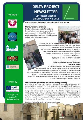 DELTA PROJECT  NEWSLETTER 5th Project Meeting  GIRONA, March 7-8, 2013
