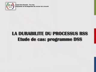 LA DURABILITE DU PROCESSUS RSS Etude de cas: programme DSS