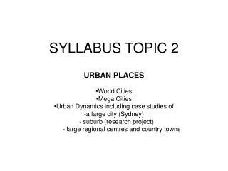 SYLLABUS TOPIC 2